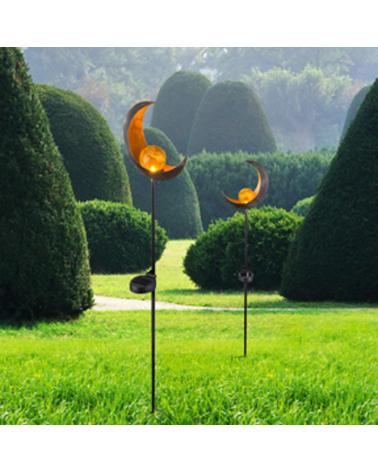 Baliza solar para jardín forma luna con esfera dorada