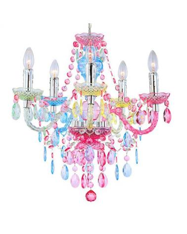 Lámpara araña multicolor 51cms 5x40w E14 lágrimas rosas y azules en acrílico y cromo