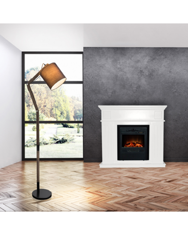 Lámpara de pie 117cm 60W E27 acabado negro y marrón articulada de madera y metal con pantalla para bombilla de rosca E27