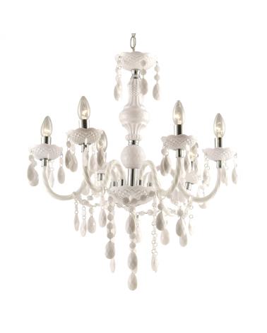 Lámpara araña blanca 51cms 6x40w E14 en acrílico y blanco