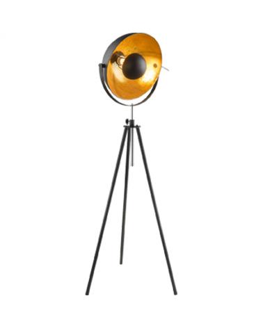 Lampara de pie 179cm 60W E27 galileo oscilante estilo vintage pantalla negra y cobre con tripode altura regulable