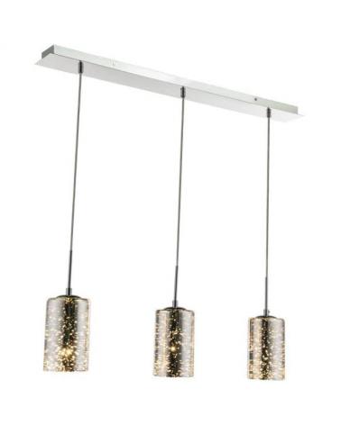 Lámpara 3xE27 60W  colgantes pantalla cristal degradado soporte cromado