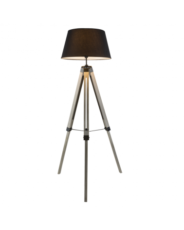 Lámpara de pie 145cm trípode de madera pantalla negra 40W E27