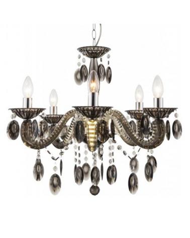 Lámpara araña negra 58cms 5x40w E14 en acrílico con luces LED