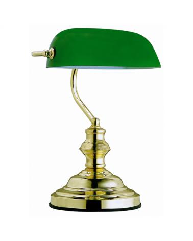 Lámpara de banquero de escritorio 36cm 60W E27 pantalla de cristal verde