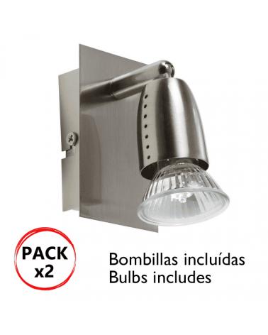 Pack 2 apliques focos en niquel 50W GU10 Bombillas incluidas