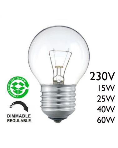 Bombilla esférica clara 230V E27 de filamento