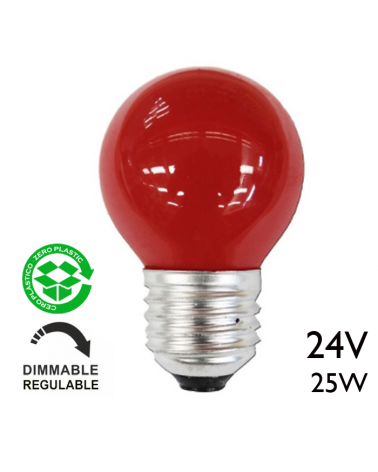 Bombilla esférica color rojo acabada roja 25W 24V E27