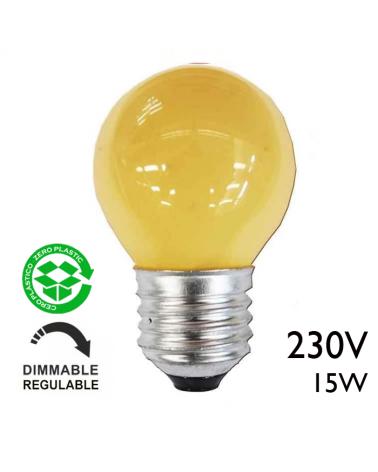 Bombilla esférica amarilla 15W 230V E27