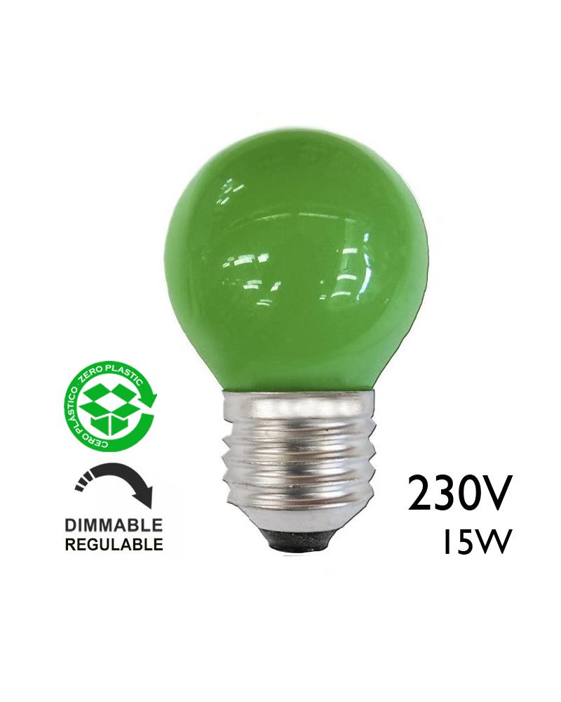 Bombilla esférica verde 15W 230V E27