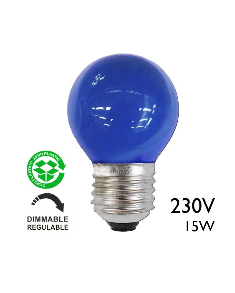 Bombilla esférica azul 15W 230V E27