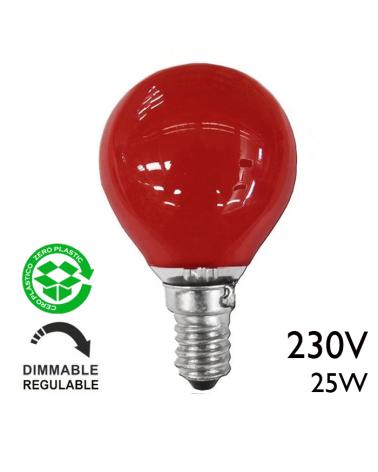Bombilla esférica color rojo 25W E14 230V roja
