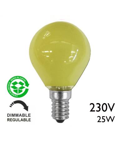 Bombilla esférica color amarillo 25W E14 230V