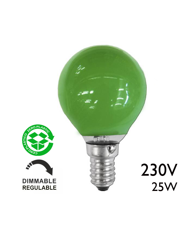 Bombilla esférica color verde 25W E14 230V