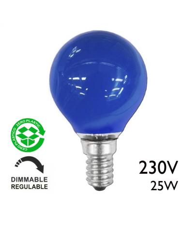 Bombilla esférica color azul 25W E14 230V