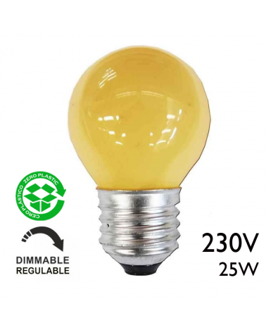 Yellow incandescent round bulb 25W E27 230V