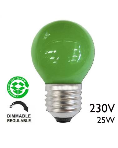 Bombilla esférica color verde 25W E27 230V