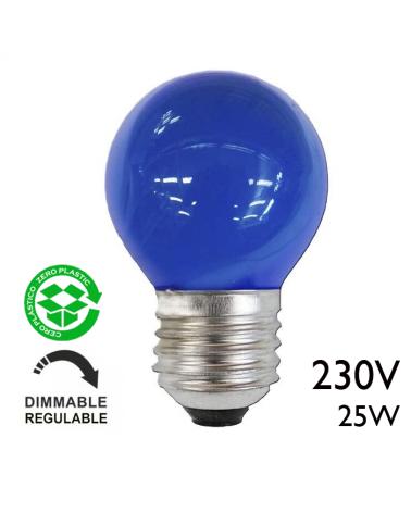 Bombilla esférica color azul 25W E27 230V