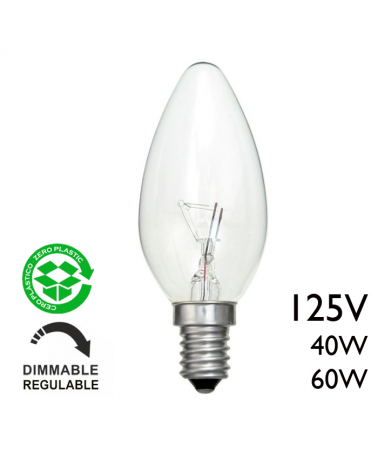Lampara incandescente vela 125V E14 clara