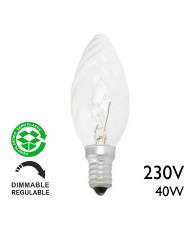 Lampara de vela rizada clara 40W E14 10cms 230V