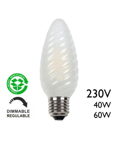 Lámpara de vela rizada mate gigante 40W E27 14cms 230V