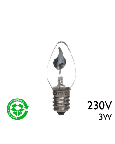Bombilla de vela oscilante clara 3W E14 230V diametro 22mm