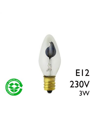 Bombilla de vela oscilante clara 3W rosca E12 230V diametro 20mm