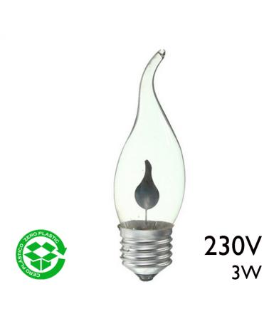 Bombilla de vela oscilante clara 3W E27 230V diametro 32mm