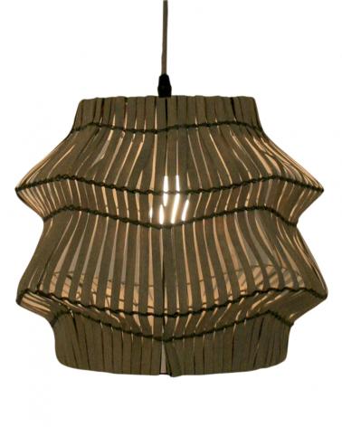 Lámpara colgante de techo 40cm con pantalla de ratán acabado marrón 60W E27
