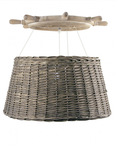 Lámpara colgante de techo de madera timón con pantalla de ratán 60W E27