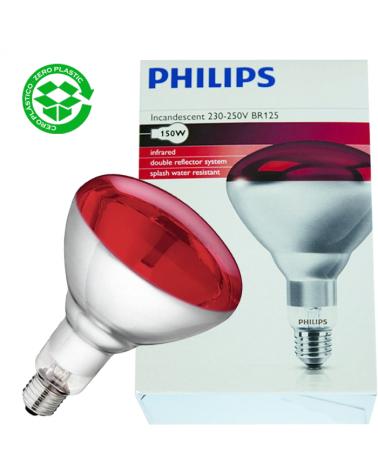 Lámpara infrarrojos Philips Incandescente 150W BR125  E27