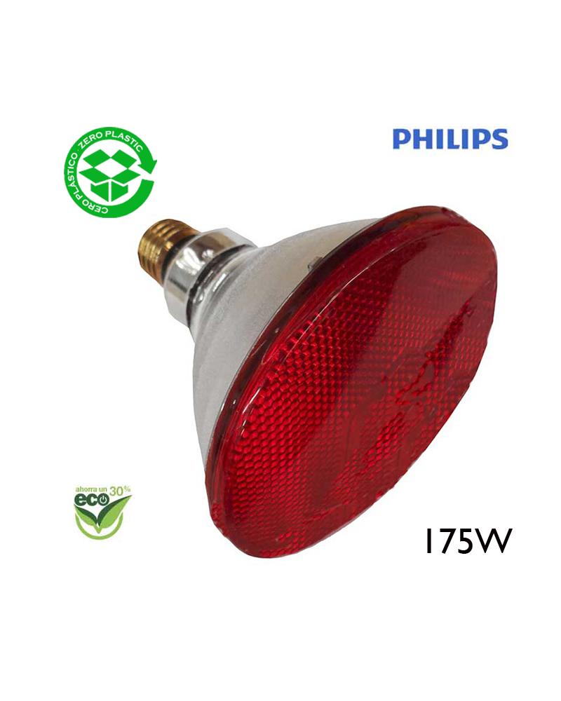 """Bombila PAR38 infrarojos Philips  175W """"ENERGY SAVER""""  E27 - roja"""