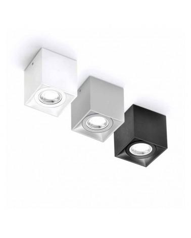 Foco cubico 8cm aluminio GU10 tapa decorativa