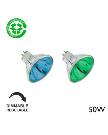 Spot Dicroica halógena 12V Regulable 50W GU5,3 20º color