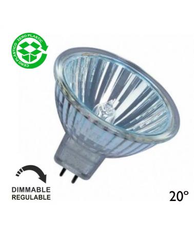 Spot Dicroica halógena 12V Regulable GU5,3 20º acabado cristal 4000h