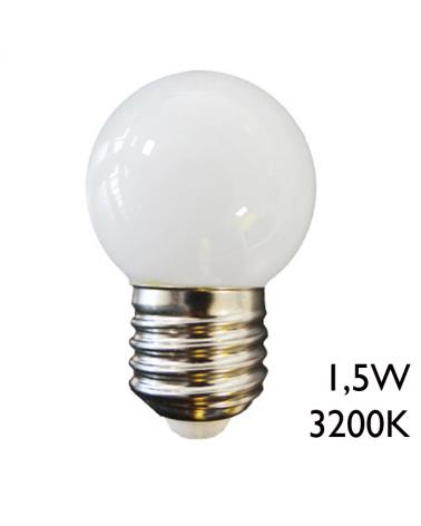 Bombilla esférica LED 1,5W E27 3200K 255Lm luz cálida