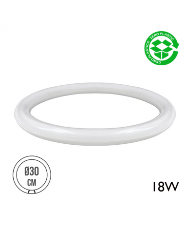 Tubo circular LED G10Q 18W 1500 Lm luz cálida