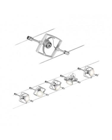 Sistema de cable marco cuadrado cromo mate 5 focos máx. 10 W GU5.3