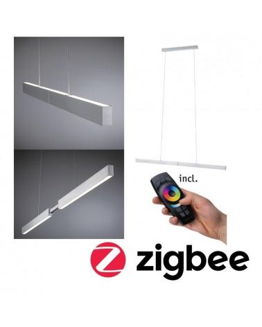 Lámpara inteligente colgante extensible 1x18W LED aluminio mate regulable mando a distancia