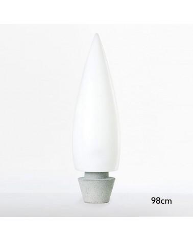 Lámpara de pie exterior forma cónica blanca Kampazar 80 con base de hormigón portátil IP65