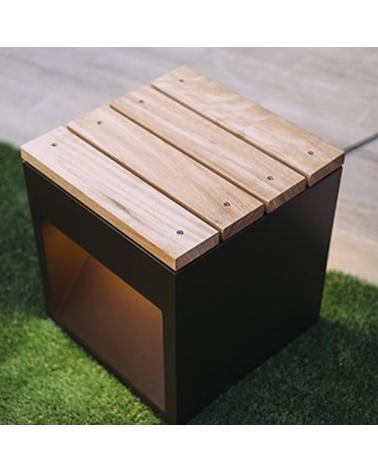 Banco madera Lap Bech A 45 cm de largo, fijación al suelo IP65 LED 2x6,5W 3000K