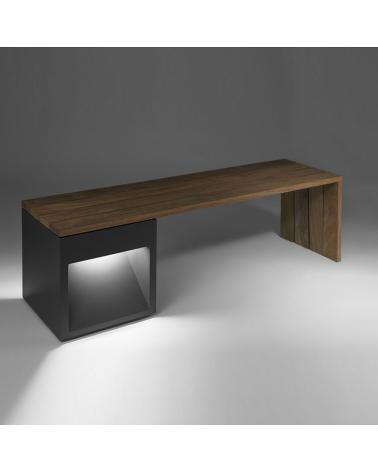 Banco madera Lap Bech 45-2A 160 cm de largo, fijación al suelo IP65 LED 2x6,5W 3000K