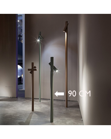 Outdoor beacon Tube 90 cm high finished in khaki with rotating LED spotlight 4.5W 3000K IP55