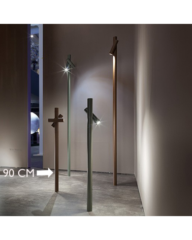 Outdoor beacon Tube 90 cm high finished in corten with 2 rotating LED spotlights of 4.5W 3000K IP55