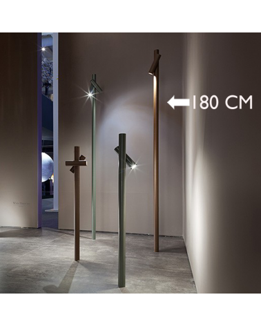 Outdoor beacon Tube 180 cm high, finished in corten, 4.5W 3000K IP55 rotating LED spotlight