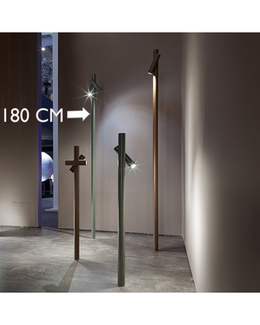 Outdoor beacon Tube 180 cm high finished in khaki with 2 rotating LED spotlights 4.5W 3000K IP55