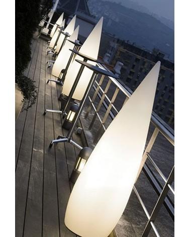 White conical shape outdoor floor lamp Kampazar 80 IP65 floor fixing