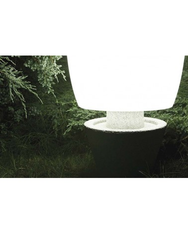 Outdoor floor lamp conical shape white Kampazar 150 with IP65 portable concrete base