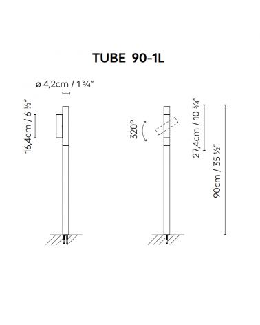 Baliza para exterior Tube 90 cm de altura acabado en caqui con foco LED giratorio  4,5W 3000K IP55