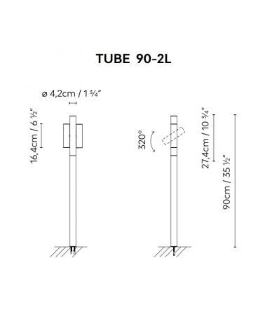 Baliza para exterior Tube 90 cm de altura acabado en corten con 2 focos LED giratorios de 4,5W 3000K IP55